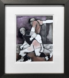 Geoffrey Key Footballers Mixed Media Painting