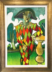 Geoffrey Key Harlequin Sundial Original Painting