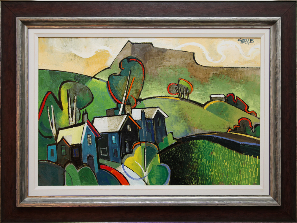 Geoffrey Key Three Houses Landscape Original Painting