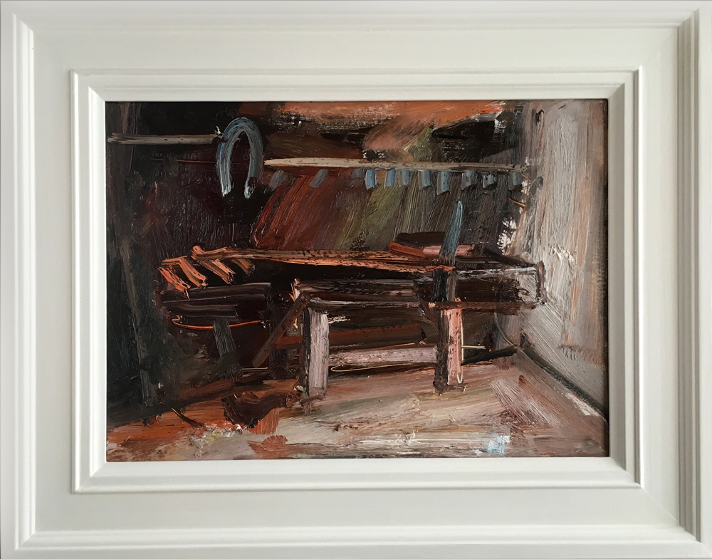 Richard Fitton Brown Bench Original Painting for Sale