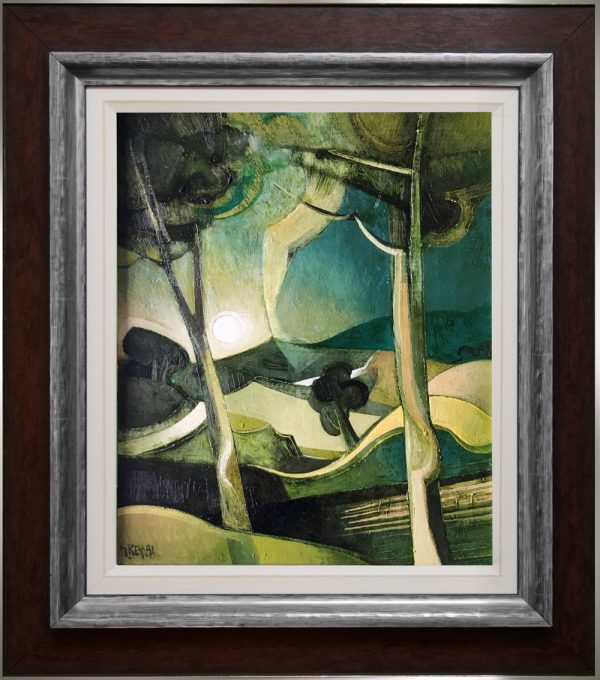 Geoffrey Key Moonlit Landscape Original Painting