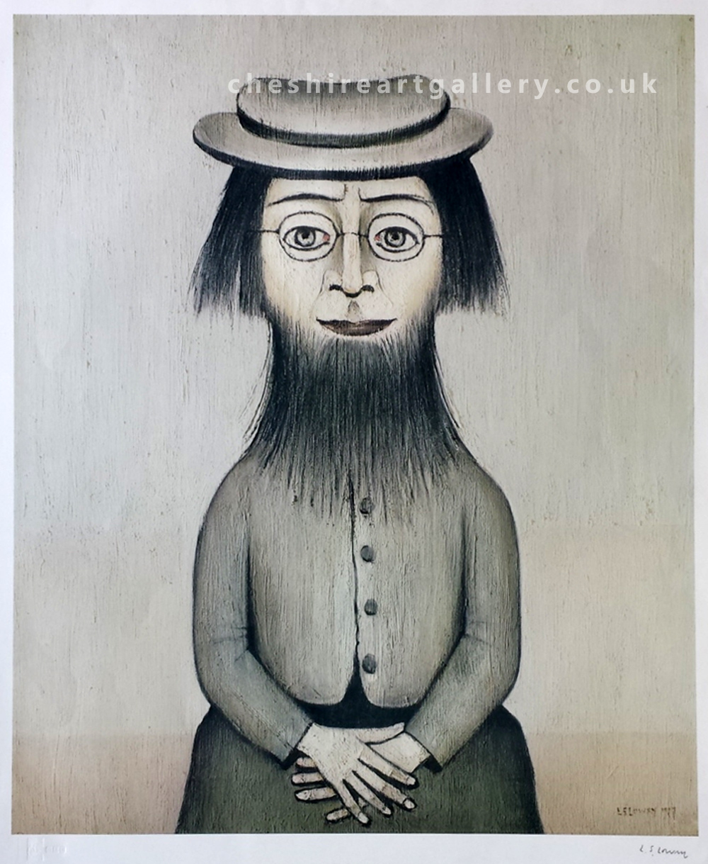 L S Lowry Woman with a Beard Signed Limited Edition Print