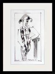 Geoffrey Key Harlequin Sundial Mixed Media Drawing