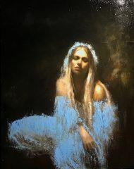 Mark Demsteader Ophelia Blue Original Oil Painting