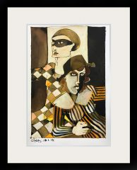 Geoffrey Key Study for Harlequin Columbine Mixed Media Painting