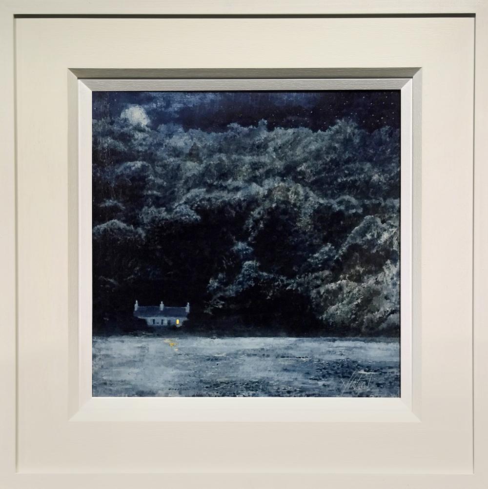 Dean Entwistle Llanbedrog Beach Moonlit Tempera Painting