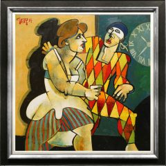 Geoffrey Key late for the ball-oil-painting-clowns-and-jesters