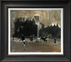 David Coulter Acker Street Football Original Painting SOLD