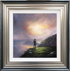 Danny Abrahams Original Painting Romantic Sunset at South Stack Lighthouse