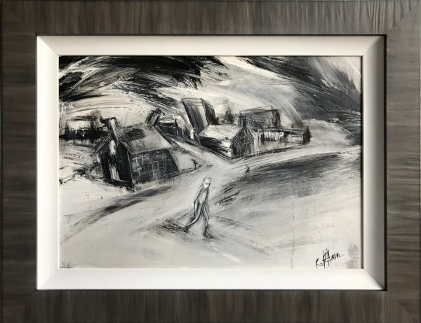 Rourke Van Dal Lonely Walk Home Original Painting for Sale