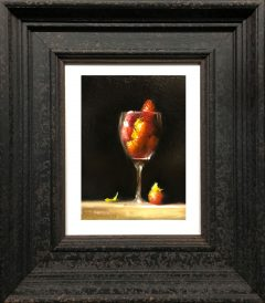 Neil Carroll Original Painting Strawberries in Wine Glass