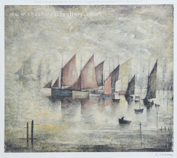 L S Lowry Sailing Boats Signed Limited Edition Print