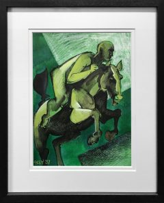 Geoffrey Key Green Rider Mixed Media Painting