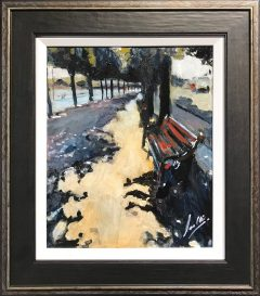 David Coulter Lonely Bench Original Painting for sale
