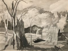 JOHN NORTHCOTE NASH - TREES & SHED