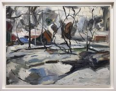 Richard Fitton Winter Scene Original Painting for Sale