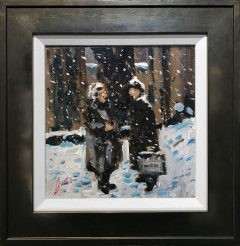 David Coulter Original Painting Chinwag in the Snow