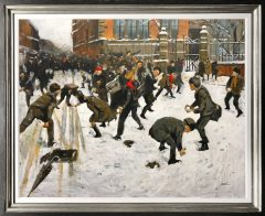 David Coulter Original Painting Snowball Fight