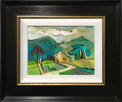 Geoffrey Key Hillside Farm Landscape Painting