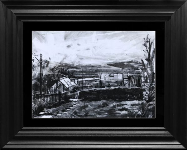 Hester Berry Back Garden Charcoal Drawing for Sale