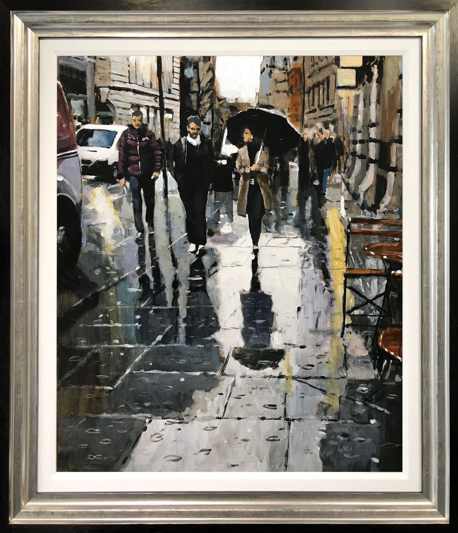 David Coulter Rain Trio, Cross Street Original Painting for sale