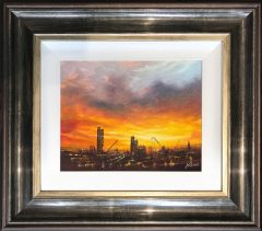 Danny Abrahams Original Painting Sunset Over Manchester