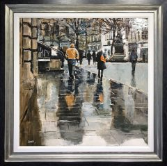 David Coulter St Anne's Square, Orange Coat in Rain Original Painting for sale