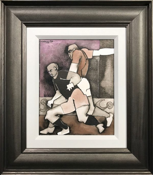 Geoffrey Key Footballers Mixed Media Painting