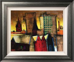 Geoffrey Key Sunset Towers Original Oil Painting for Sale
