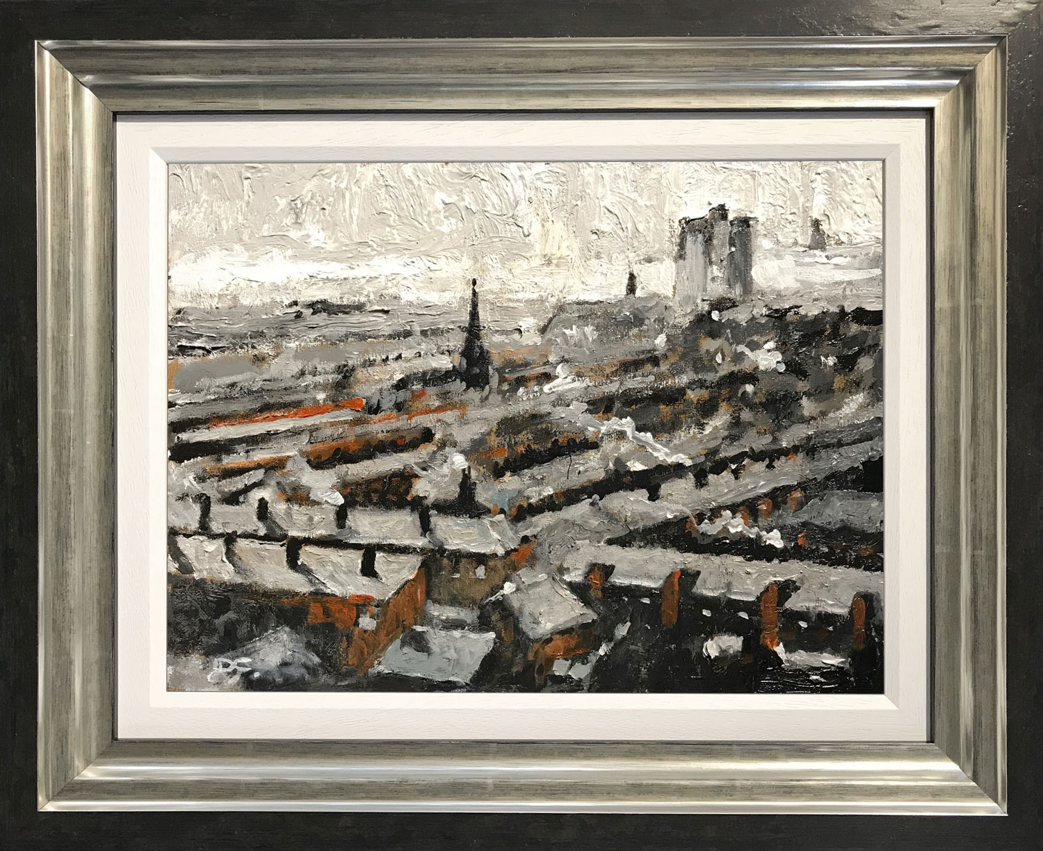 David Coulter Rooftop Greys Original Painting for sale