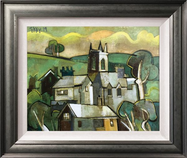 Geoffrey Key Village Church Original Oil Painting for Sale