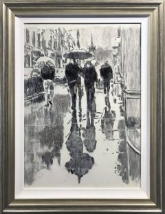 David Coulter Wet Street Charcoal Study Original Drawing for sale