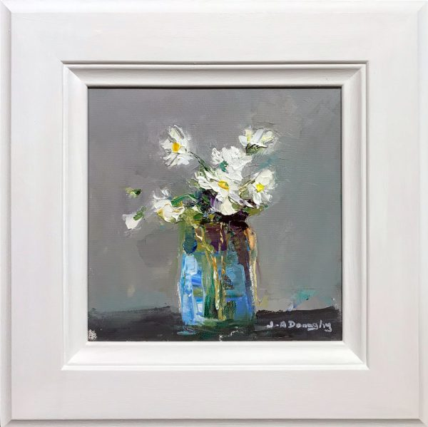 Judith Donaghy Peach Bunch of Daisies Original Painting