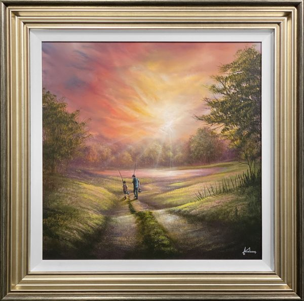 Danny Abrahams Original Painting It takes a little more than a wish to catch a fish