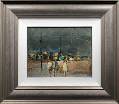 Peter Oliver - Three Figures on a Beach Original Painting for Sale