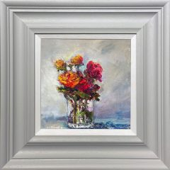 Judith Donaghy Red & Gold Roses in a Crystal Vase Original Painting