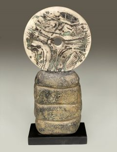 Peter Hayes - Raku Disc Mounted on Canal Clay Base