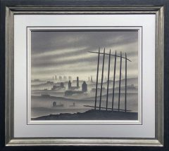 Trevor Grimshaw Northern Townscape & Railings Original Drawing for Sale