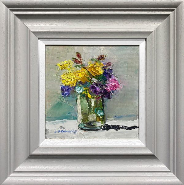 Judith Donaghy White Mixed Flowers Original Painting