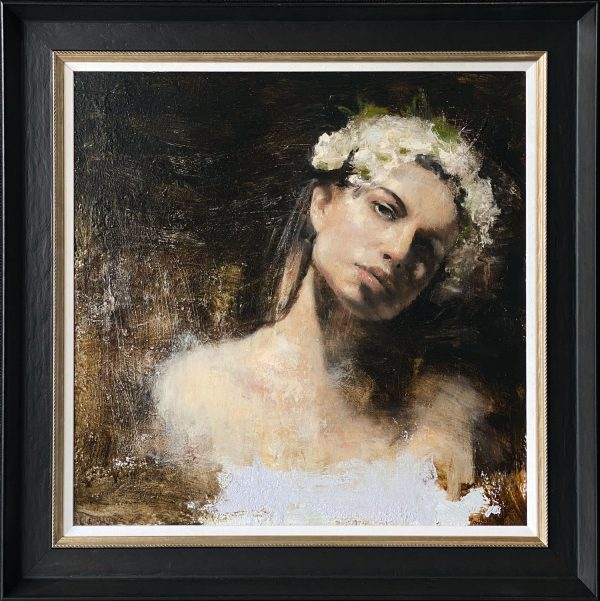 Mark Demsteader Head Study with Flowers Original Oil Painting